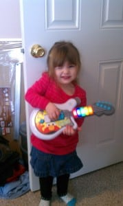 My daughter, Violet (age 3), decided that it was time for me to take a break, so she threw me a short rock concert!