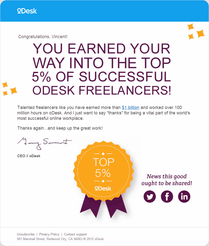 Top 5 percent of freelancers on oDesk