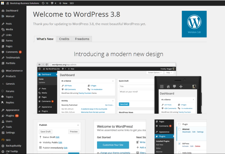 WordPress 3.8 Admin Dashboard improvements