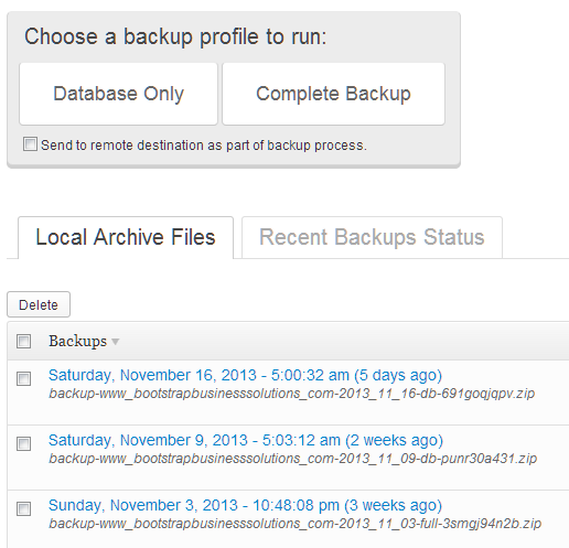 Automatic Website Backups