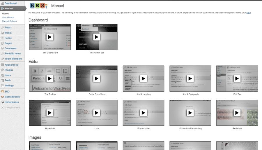Integrated video tutorials & website user manual