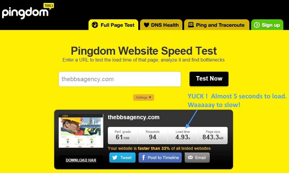 Website before speed optimization