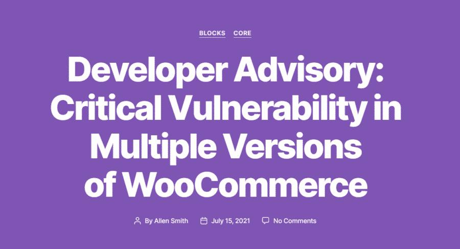 Critical WooCommerce Vulnerability